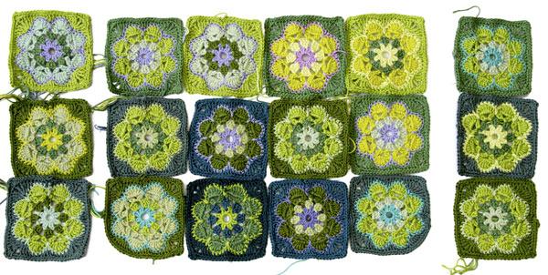 Granny Squares für Tasche, einzeln