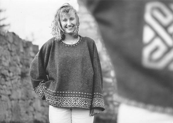Pullover mit Saumbordüre, graumeliert
