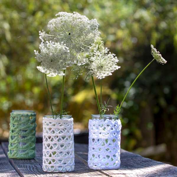 Häkeln: Aus Senfgläser werden Vasen und Teelichter | Stricken ...